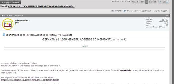 GERAKAN 1 1000 MEMBER ADSENSE ID Ternyata $1 Lebih Berarti Dari 24 Juta