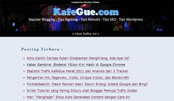 kafegue Tips Seputar Blogging, SEO dan Wordpress Bersama Kafegue